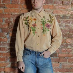 Funky Embroidered Foral Button-Up Shirt - Peach 🍑